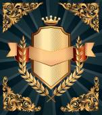Retro-verzieren-Wappen — Stockvektor