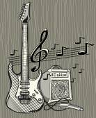Guitar and notes design — Stock Vector