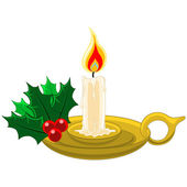 Candle with Mistletow and Holly in gold candleholder — Stockvector