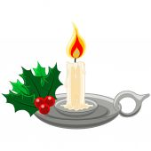 Candle with Mistletow and Holly in silver candleholder — Stockvector