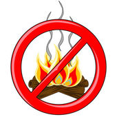 Campfire Vector inside red banned logo — Stock Vector