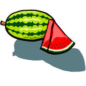 Watermelon Whole and wedge — Stock Vector