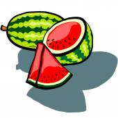 Watermelon Whole, Half and Wedge — Stock Vector
