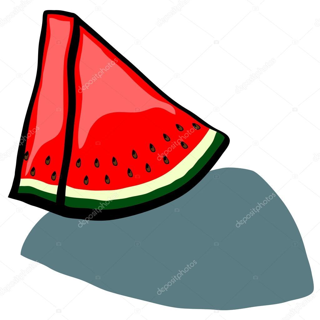 可爱的西瓜片楔形矢量卡通– 图库插图