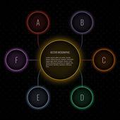 Modern vector neon bubble infographic — Stock Vector