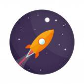 Space rocket flying in space with moon and stars. — Stockvector