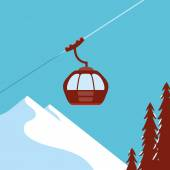 Ski Lift Gondola Snow Mountains — Wektor stockowy