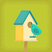 Bird and birdhouse — Vetor de Stock