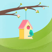 Birds and birdhouse, spring — Stock Vector