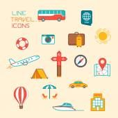 Travel and tourism icons. Flat design thin line style illustrati — Stock Vector