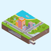 Isometric City Center map with Buildings, Zoo, sea and Subway — Stock Vector