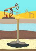 Oil Rig with soil layers — Stock Vector