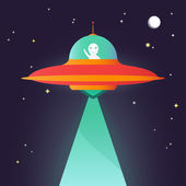 Ufo. Alien in night sky — Stock Vector