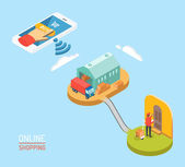 Online shopping concept isometric vector illustration — Stock Vector
