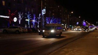 Cars On Night City — Stock Video