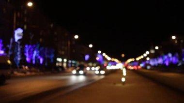 Cars On Night in Chelyabinsk — 图库视频影像