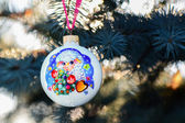 Year of the Sheep Christmas bauble on a Christmas tree branch  — Stock Photo