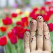 Conceptual family finger art. Father, son and daughter are celebrating their mother's day. — Stock Photo #71903209