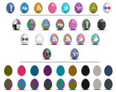 Colorful social media Easter eggs icon set isolated on white — Stock Photo