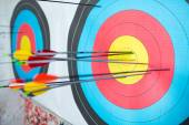 To hit the mark with target archery — Stock Photo