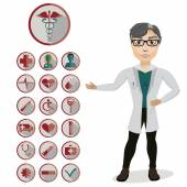 Man Doctor and 18 medical icons — Stock Vector