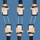 Phones transmit information — Stock Vector