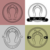 Horseshoe logos in different styles. With the inscription- your  — Stock Vector