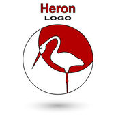 Round logo heron on a background of the sun. — Vettoriale Stock