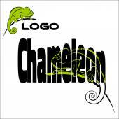 The word with the image of a chameleon, and a separate logo cham — Stock Vector