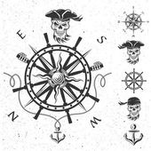 Sea emblem and a set of pirate elements. — Stock Photo