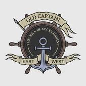 The emblem on the marine theme. — Stock Vector