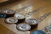 Old backgammon game — Stock Photo