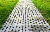 Tiles with lawn — Stock Photo