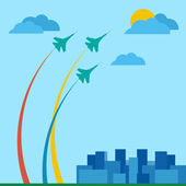 Military planes over the city — Stock Vector