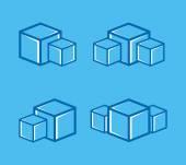 Vector ice cube logo or symbol icon — Stock Vector