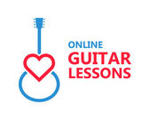 Heart guitar vector logo or icon — Stock Vector