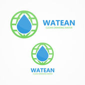 Logo combination of water and earth — Stock Vector