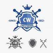 Retro sword badges and shields logo design elements — Stock Vector