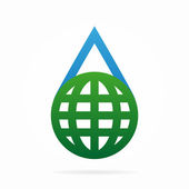Vector logo combination of a water and earth  — Vettoriale Stock