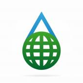 Vector logo combination of a water and earth — Stockvektor
