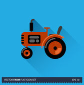Red Tractor vector flat long shadow icon on blue background. Farm icons collection — Stock vektor