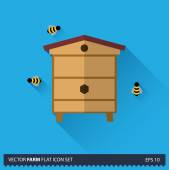 Beehive with bees vector flat long shadow icon on blue background. Farm icons collection — Stockvektor