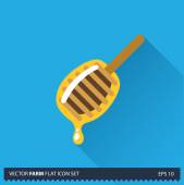 Honey dipper vector flat long shadow icon on blue background. Farm icons collection — Stock Vector