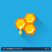 Honeycomb vector flat long shadow icon on blue background. Farm icons collection — Stock Vector