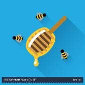 Honey dipper and bees vector flat long shadow icon on blue background. Farm icons collection — Stock Vector