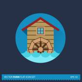 Water Mill vector flat long shadow icon on blue background. Farm icons collection — Stok Vektör