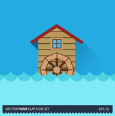 Water Mill vector flat long shadow icon on blue background. Farm icons collection — Stock Vector