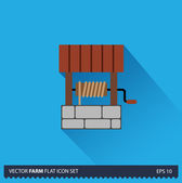 Water Well vector flat long shadow icon on blue background. Farm icons collection — Stockvektor