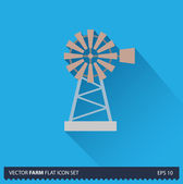 Windmill vector flat long shadow icon on blue background. Farm icons collection — Stok Vektör
