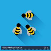 Three Honey Bees vector flat long shadow icon on blue background. Farm icons collection — Stock Vector